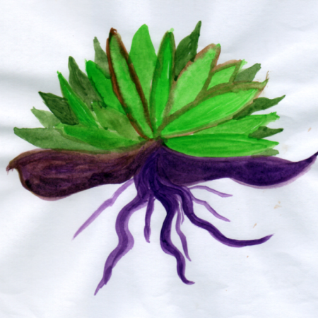 Green Shots and Purple Roots painting by Wendy Freebourne